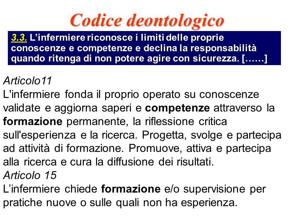 Codice deontologico 3.3. Linfermiere riconosce i limiti delle proprie conoscenze e competenze e declina la responsabilità quando ritenga di non potere