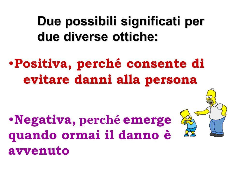 Due possibili significati per due diverse ottiche: consente di Positiva, perché consente di evitare danni alla persona Negativa, perché emerge quando