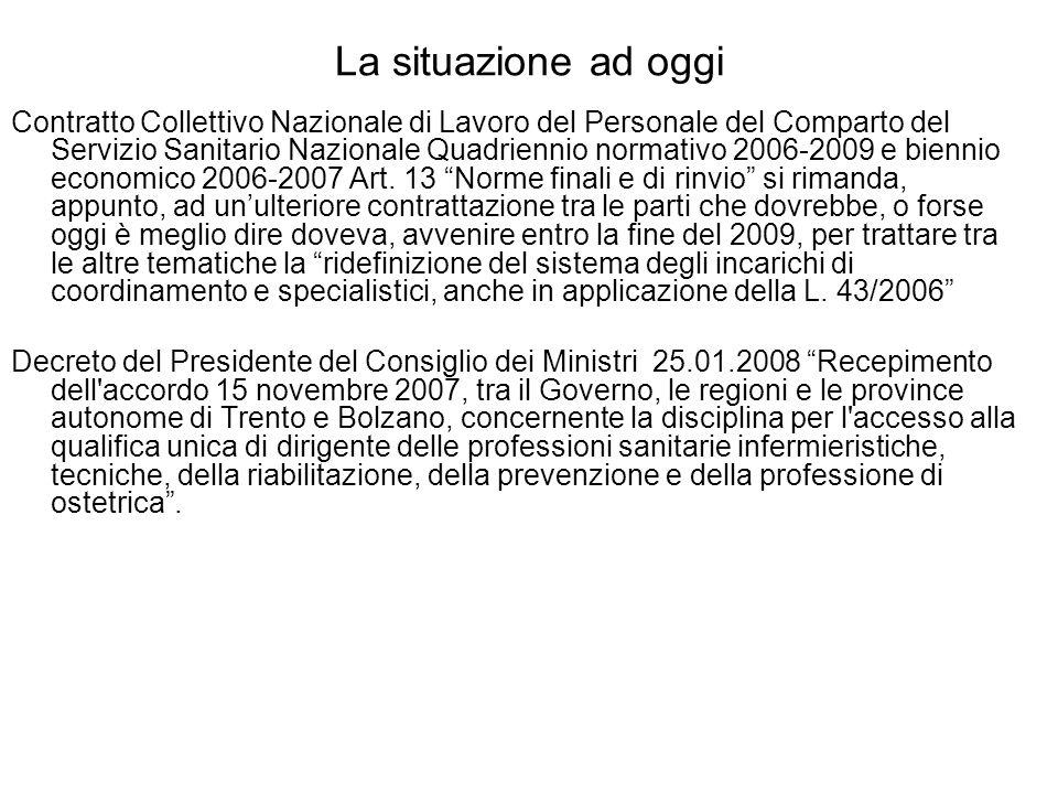 La situazione ad oggi Contratto Collettivo Nazionale di Lavoro del Personale del Comparto del Servizio Sanitario Nazionale Quadriennio normativo 2006-2009 e biennio economico 2006-2007 Art.