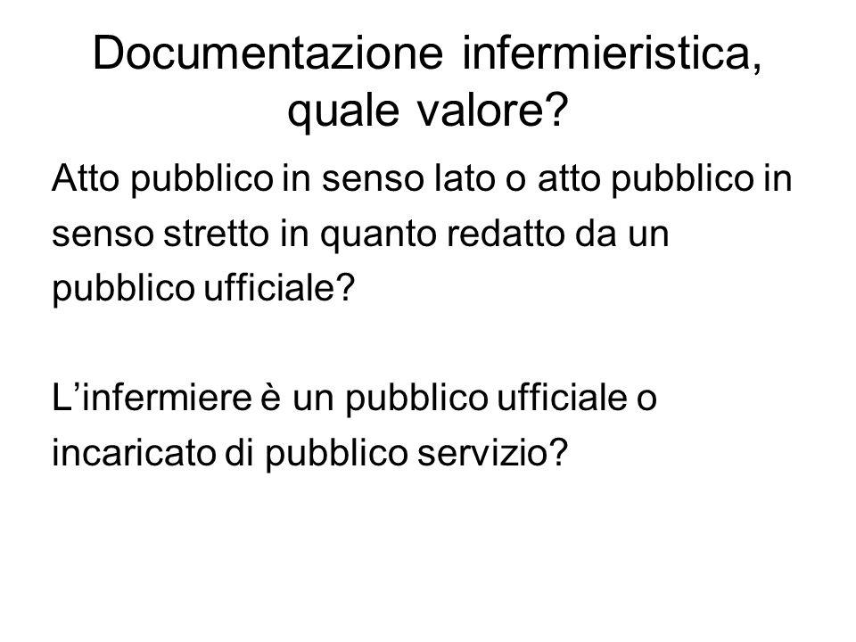 Documentazione infermieristica, quale valore? Atto pubblico in senso lato o atto pubblico in senso stretto in quanto redatto da un pubblico ufficiale?