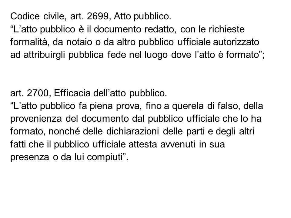 Codice civile, art. 2699, Atto pubblico. Latto pubblico è il documento redatto, con le richieste formalità, da notaio o da altro pubblico ufficiale au