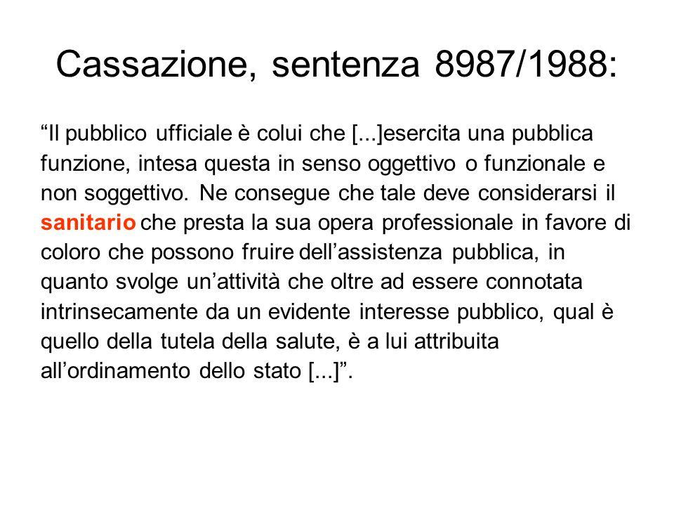Cassazione, sentenza 8987/1988: Il pubblico ufficiale è colui che [...]esercita una pubblica funzione, intesa questa in senso oggettivo o funzionale e non soggettivo.