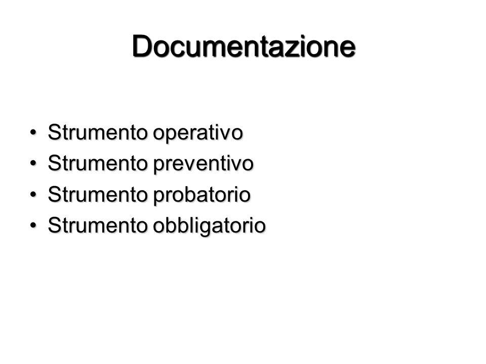 Documentazione Strumento operativoStrumento operativo Strumento preventivoStrumento preventivo Strumento probatorioStrumento probatorio Strumento obbl