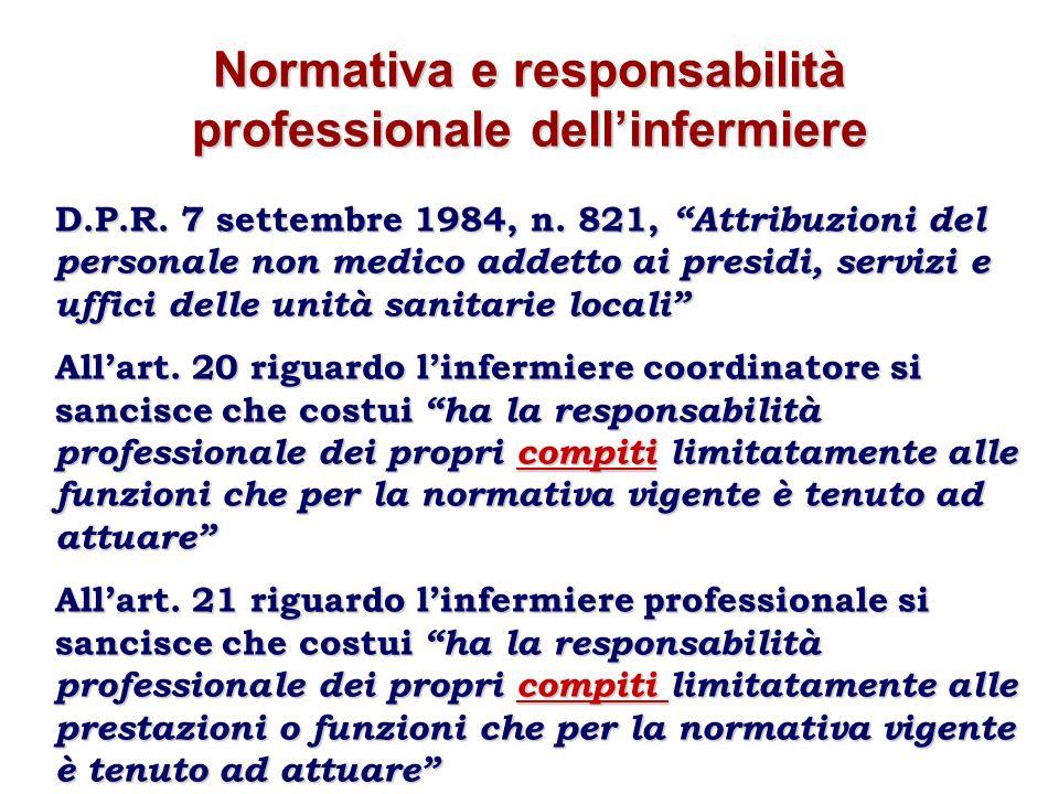 Normativa e responsabilità professionale dellinfermiere D.P.R. 7 settembre 1984, n. 821, Attribuzioni del personale non medico addetto ai presidi, ser