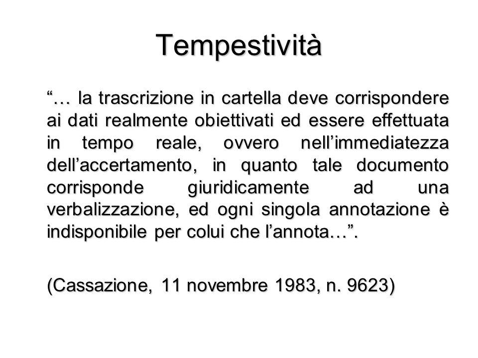 Tempestività … la trascrizione in cartella deve corrispondere ai dati realmente obiettivati ed essere effettuata in tempo reale, ovvero nellimmediatez