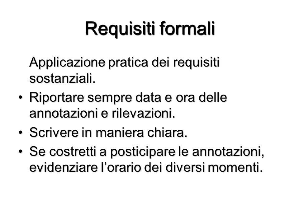 Requisiti formali Applicazione pratica dei requisiti sostanziali. Riportare sempre data e ora delle annotazioni e rilevazioni.Riportare sempre data e
