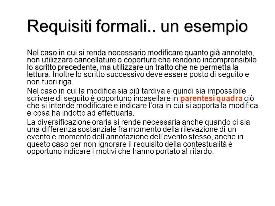Requisiti formali.. un esempio Nel caso in cui si renda necessario modificare quanto già annotato, non utilizzare cancellature o coperture che rendono