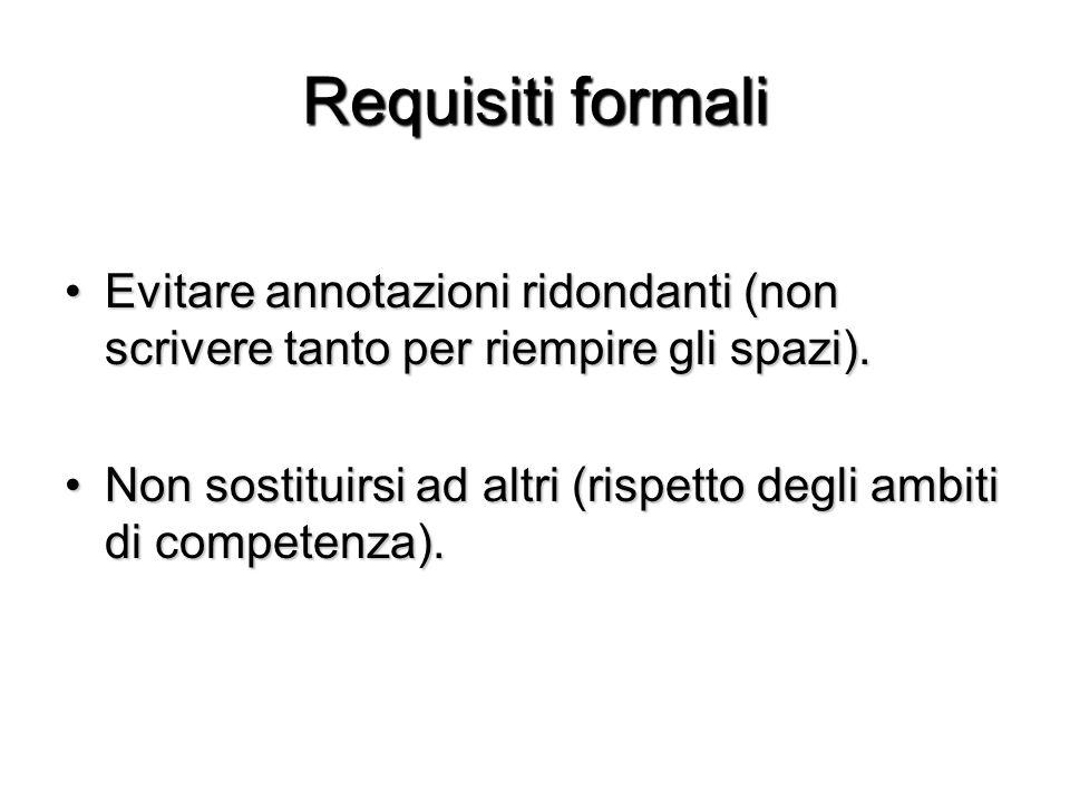 Requisiti formali Evitare annotazioni ridondanti (non scrivere tanto per riempire gli spazi).Evitare annotazioni ridondanti (non scrivere tanto per ri