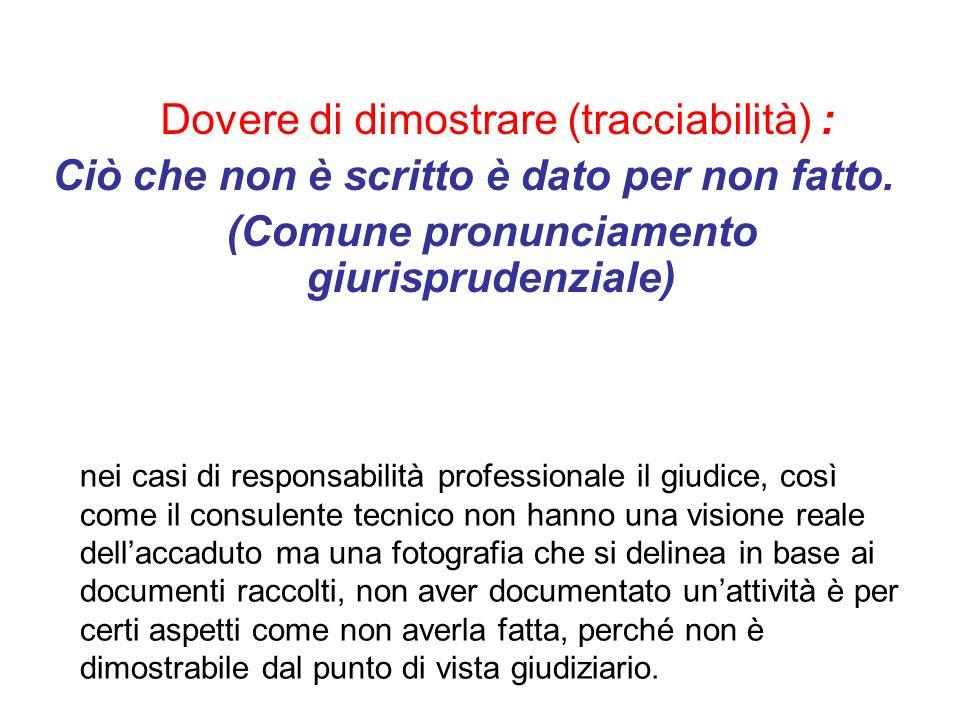 Dovere di dimostrare (tracciabilità) : Ciò che non è scritto è dato per non fatto. (Comune pronunciamento giurisprudenziale) nei casi di responsabilit