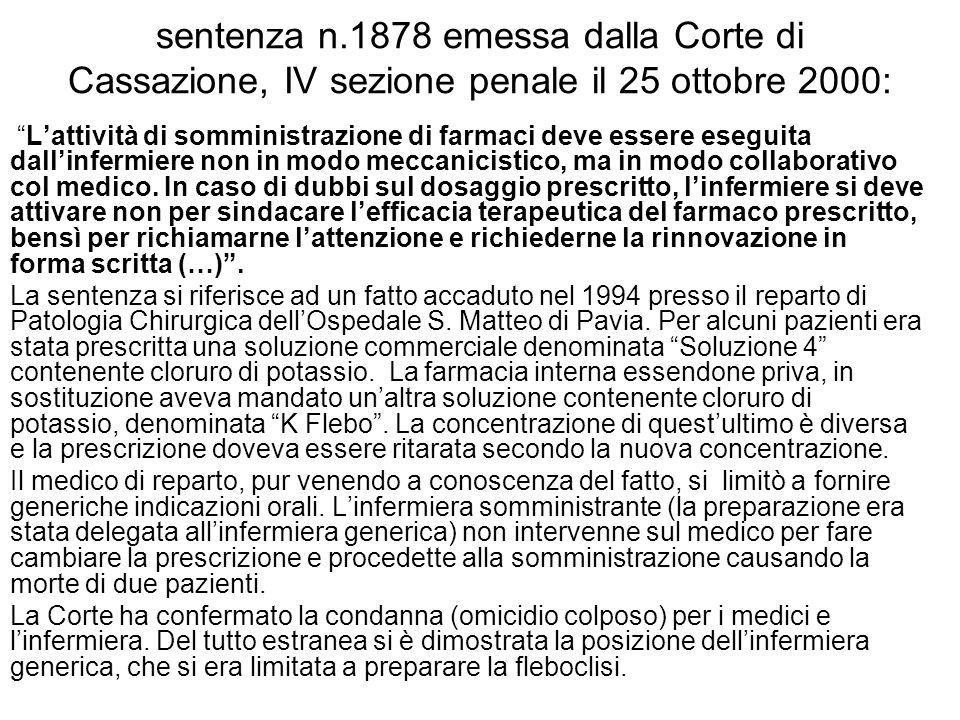 sentenza n.1878 emessa dalla Corte di Cassazione, IV sezione penale il 25 ottobre 2000: Lattività di somministrazione di farmaci deve essere eseguita dallinfermiere non in modo meccanicistico, ma in modo collaborativo col medico.