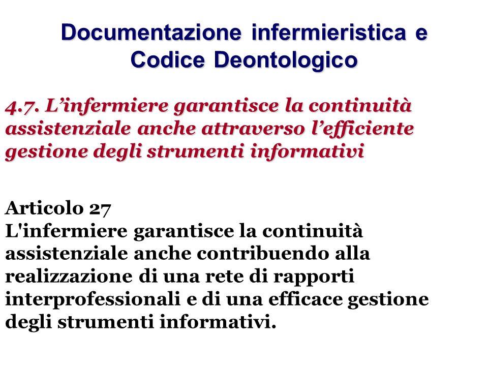 Documentazione infermieristica e Codice Deontologico 4.7. Linfermiere garantisce la continuità assistenziale anche attraverso lefficiente gestione deg