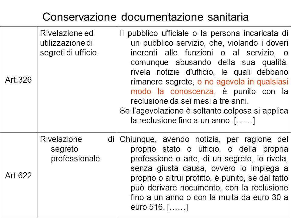 Conservazione documentazione sanitaria Art.326 Rivelazione ed utilizzazione di segreti di ufficio. Il pubblico ufficiale o la persona incaricata di un