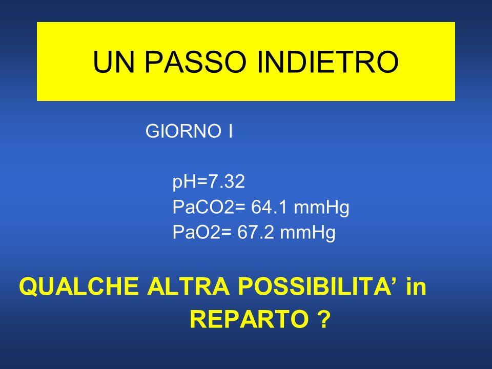 UN PASSO INDIETRO GIORNO I pH=7.32 PaCO2= 64.1 mmHg PaO2= 67.2 mmHg QUALCHE ALTRA POSSIBILITA in REPARTO ?