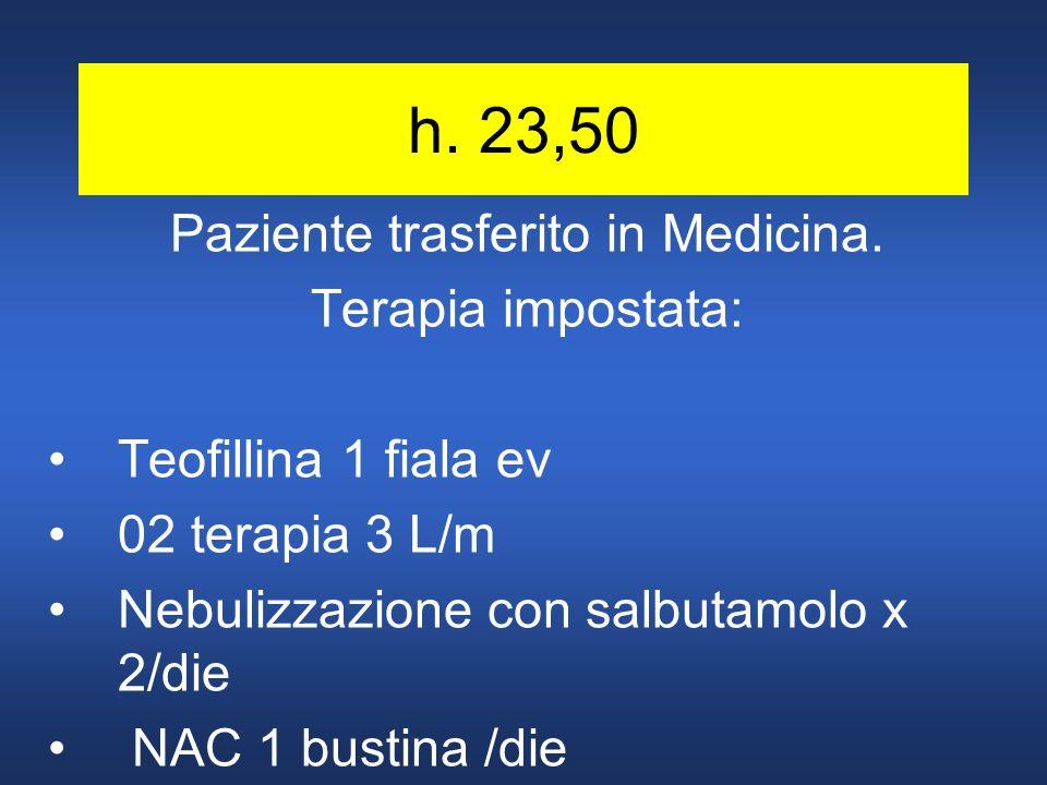 h. 23,50 Paziente trasferito in Medicina. Terapia impostata: Teofillina 1 fiala ev 02 terapia 3 L/m Nebulizzazione con salbutamolo x 2/die NAC 1 busti
