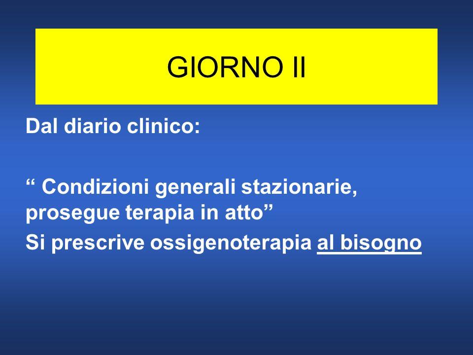 GIORNO III h.13,15 Dispnea importante post-prandiale Borg 6 Cianosi (messo 02 terapia= AL BISOGNO) Frequenza Respiratoria= 28 Fischi e sibili diffusi + segni di ipersecrezione bronchiale.