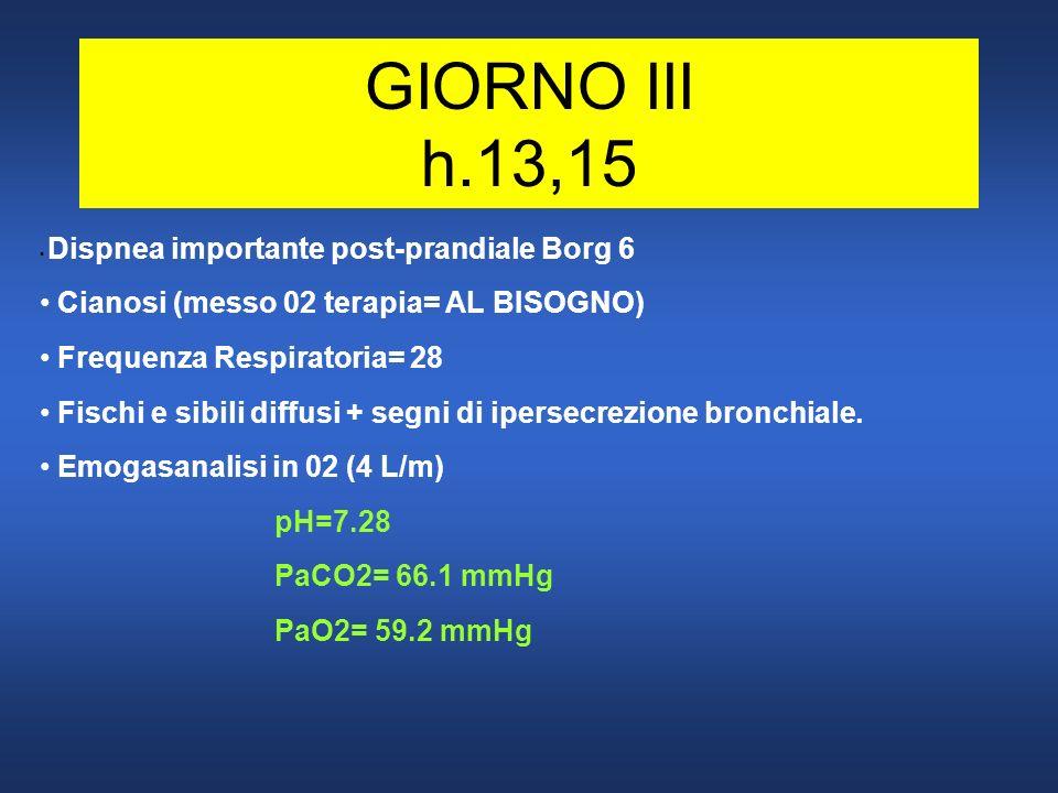 GIORNO III h.13,15 Dispnea importante post-prandiale Borg 6 Cianosi (messo 02 terapia= AL BISOGNO) Frequenza Respiratoria= 28 Fischi e sibili diffusi