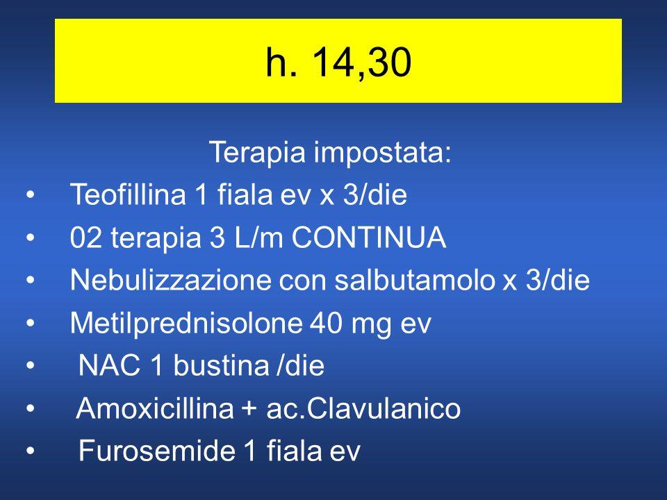 h. 14,30 Terapia impostata: Teofillina 1 fiala ev x 3/die 02 terapia 3 L/m CONTINUA Nebulizzazione con salbutamolo x 3/die Metilprednisolone 40 mg ev