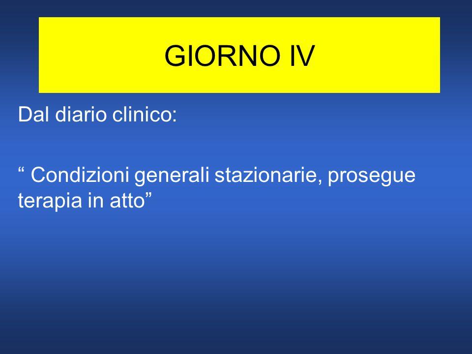 GIORNO IV Dal diario clinico: Condizioni generali stazionarie, prosegue terapia in atto