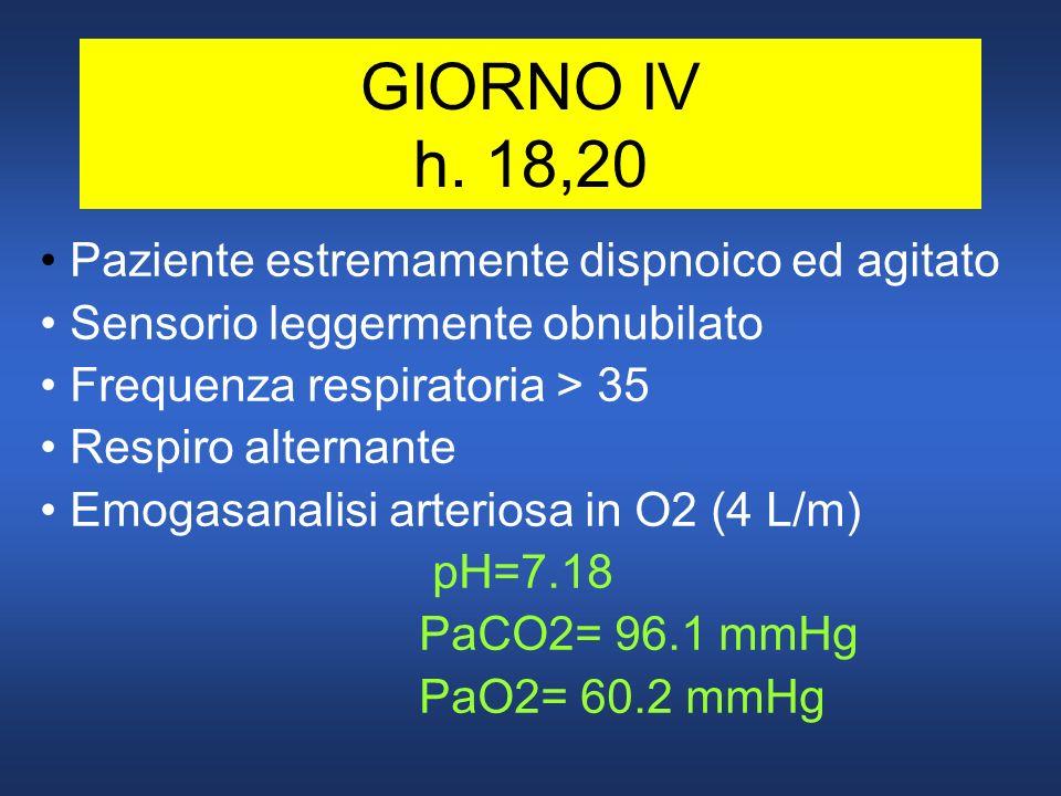 GIORNO IV h. 18,20 Paziente estremamente dispnoico ed agitato Sensorio leggermente obnubilato Frequenza respiratoria > 35 Respiro alternante Emogasana