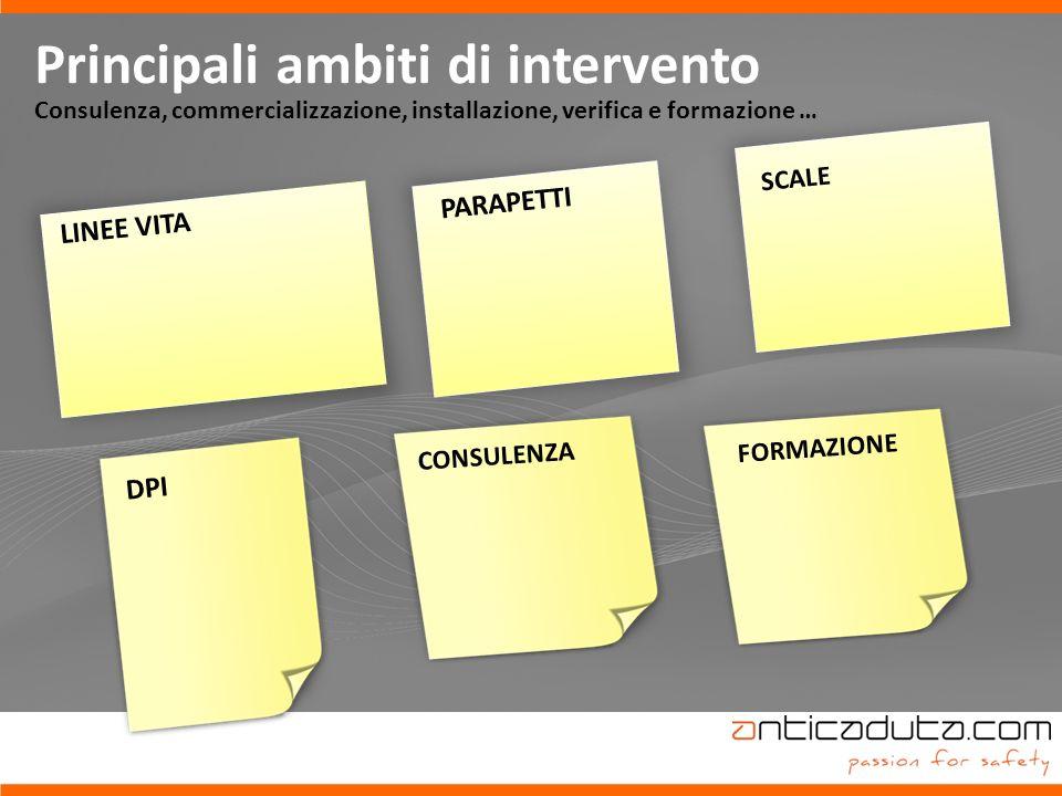 22 Principali ambiti di intervento Consulenza, commercializzazione, installazione, verifica e formazione … LINEE VITA SCALE PARAPETTI DPI CONSULENZA FORMAZIONE