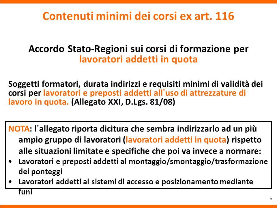 Contenuti minimi dei corsi ex art. 116 Accordo Stato-Regioni sui corsi di formazione per lavoratori addetti in quota Soggetti formatori, durata indiri