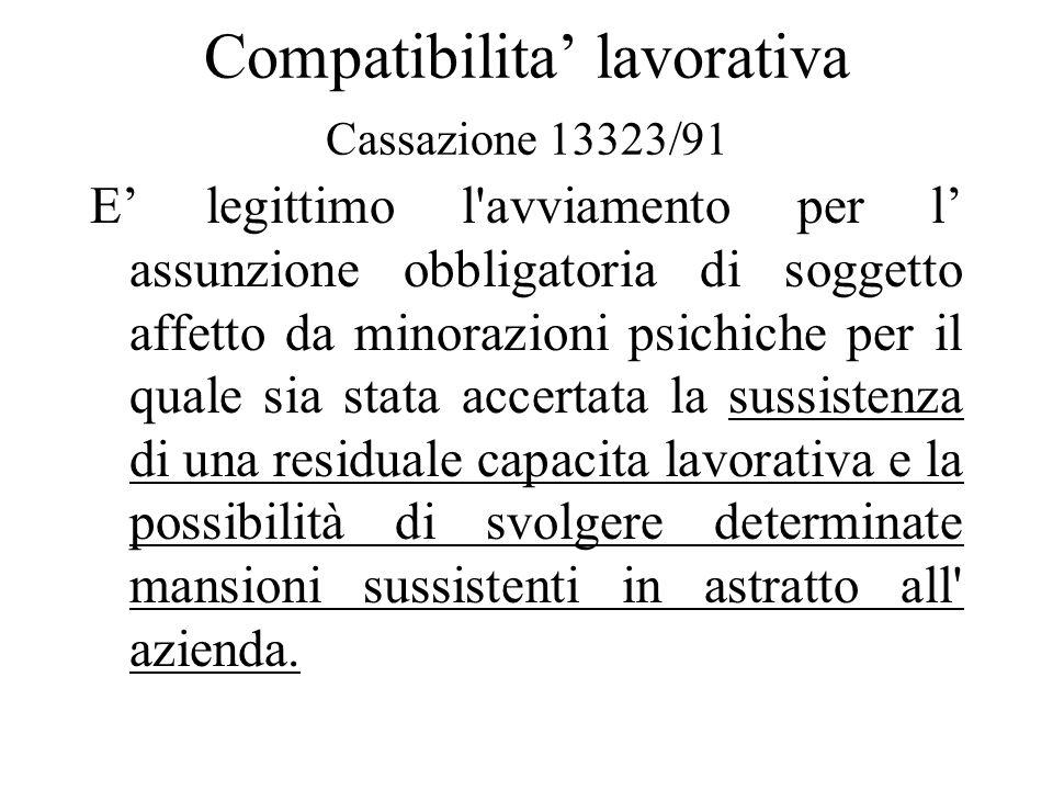 Compatibilita lavorativa Cassazione 13323/91 E legittimo l'avviamento per l assunzione obbligatoria di soggetto affetto da minorazioni psichiche per i