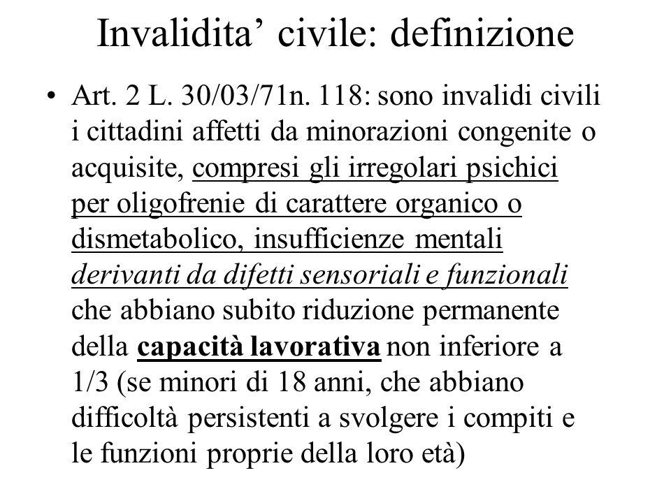 Invalidita civile: definizione Art. 2 L. 30/03/71n. 118: sono invalidi civili i cittadini affetti da minorazioni congenite o acquisite, compresi gli i
