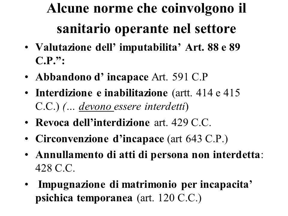 Alcune norme che coinvolgono il sanitario operante nel settore Valutazione dell imputabilita Art. 88 e 89 C.P.: Abbandono d incapace Art. 591 C.P Inte