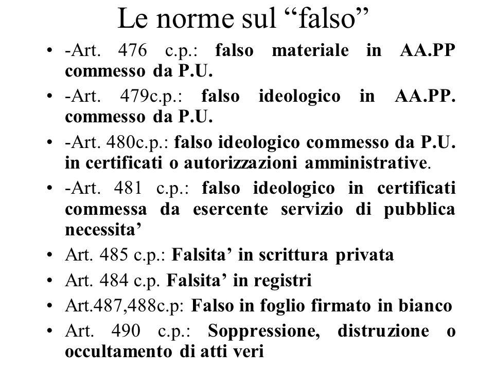 Le norme sul falso -Art. 476 c.p.: falso materiale in AA.PP commesso da P.U. -Art. 479c.p.: falso ideologico in AA.PP. commesso da P.U. -Art. 480c.p.: