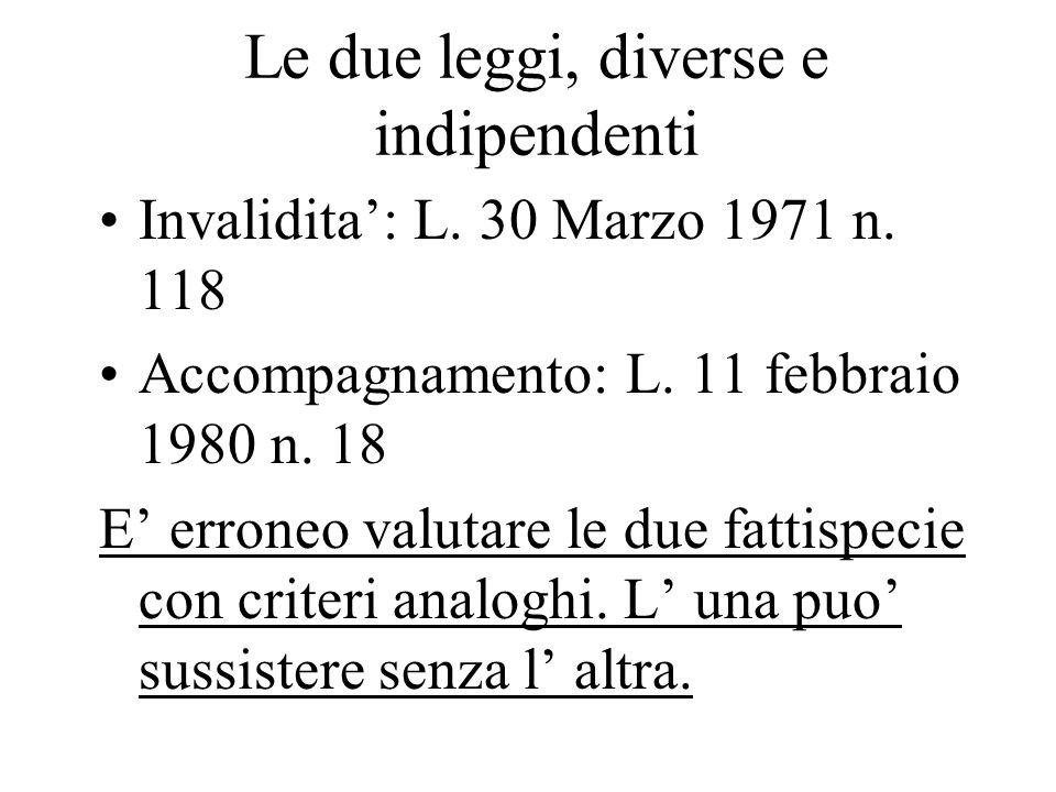 Le due leggi, diverse e indipendenti Invalidita: L. 30 Marzo 1971 n. 118 Accompagnamento: L. 11 febbraio 1980 n. 18 E erroneo valutare le due fattispe