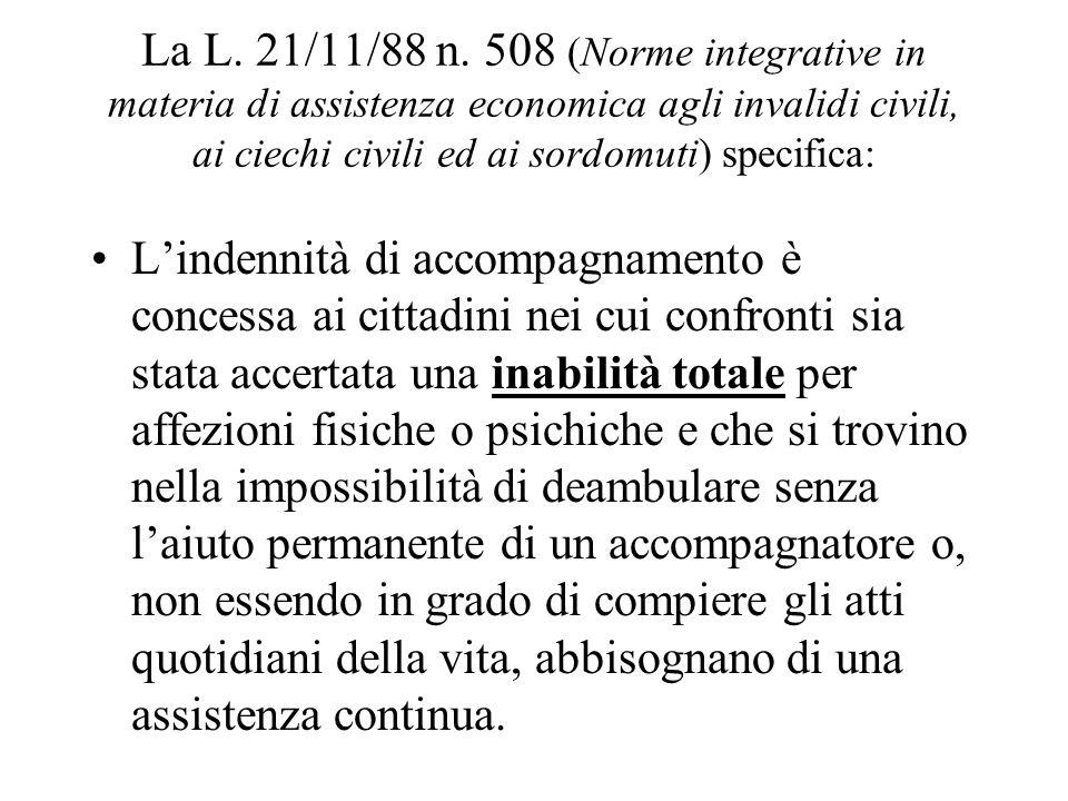 La L. 21/11/88 n. 508 (Norme integrative in materia di assistenza economica agli invalidi civili, ai ciechi civili ed ai sordomuti) specifica: Lindenn