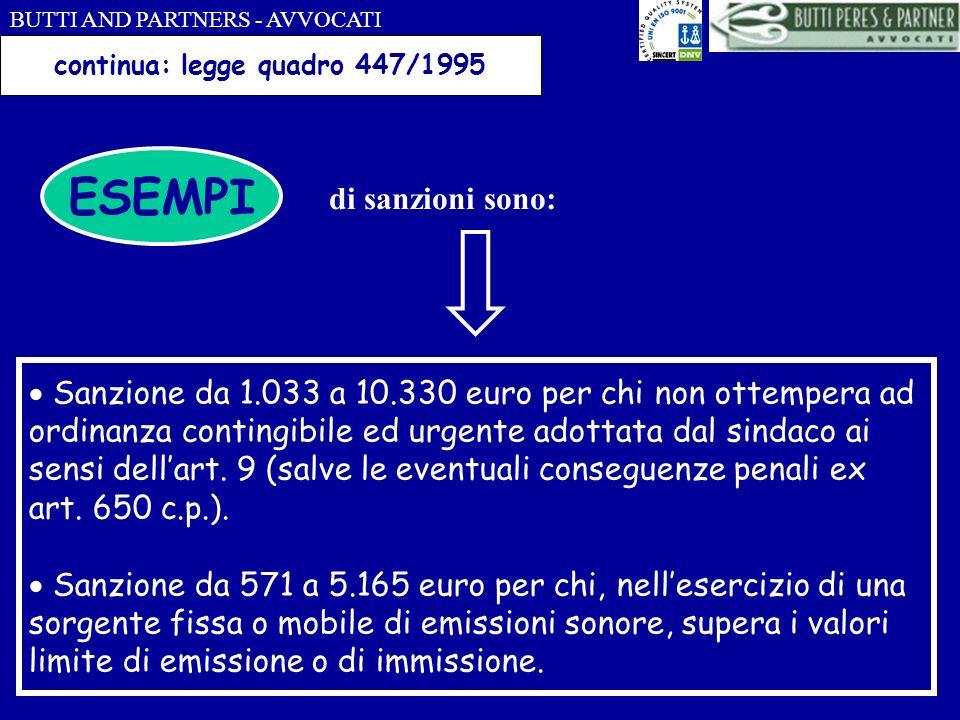 BUTTI AND PARTNERS - AVVOCATI continua: legge quadro 447/1995 ESEMPI di sanzioni sono: Sanzione da 1.033 a 10.330 euro per chi non ottempera ad ordina