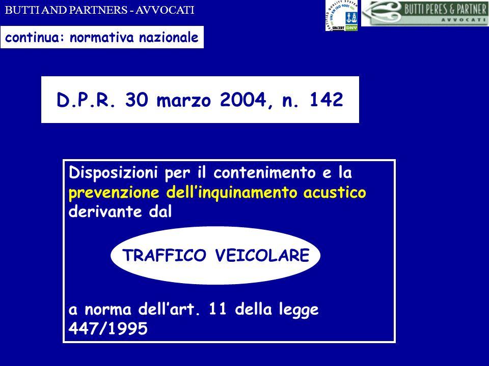 BUTTI AND PARTNERS - AVVOCATI continua: normativa nazionale D.P.R. 30 marzo 2004, n. 142 Disposizioni per il contenimento e la prevenzione dellinquina