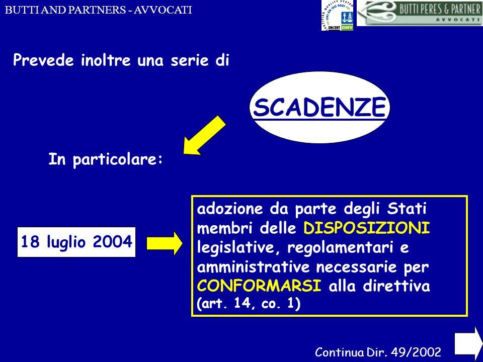 BUTTI AND PARTNERS - AVVOCATI Prevede inoltre una serie di SCADENZE In particolare: 18 luglio 2004 adozione da parte degli Stati membri delle DISPOSIZ