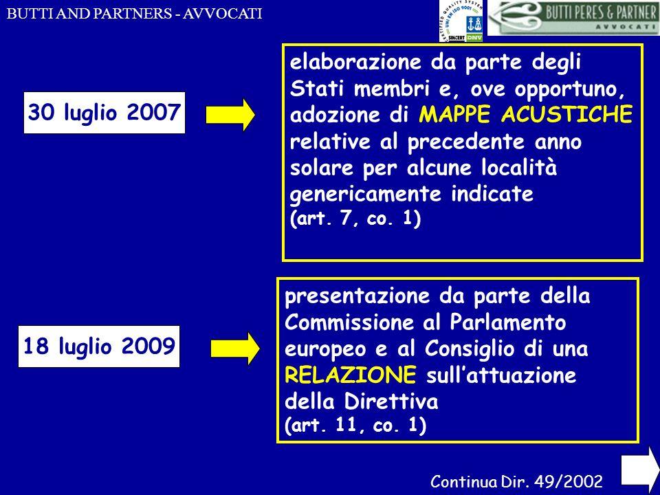 BUTTI AND PARTNERS - AVVOCATI 30 luglio 2007 18 luglio 2009 elaborazione da parte degli Stati membri e, ove opportuno, adozione di MAPPE ACUSTICHE rel