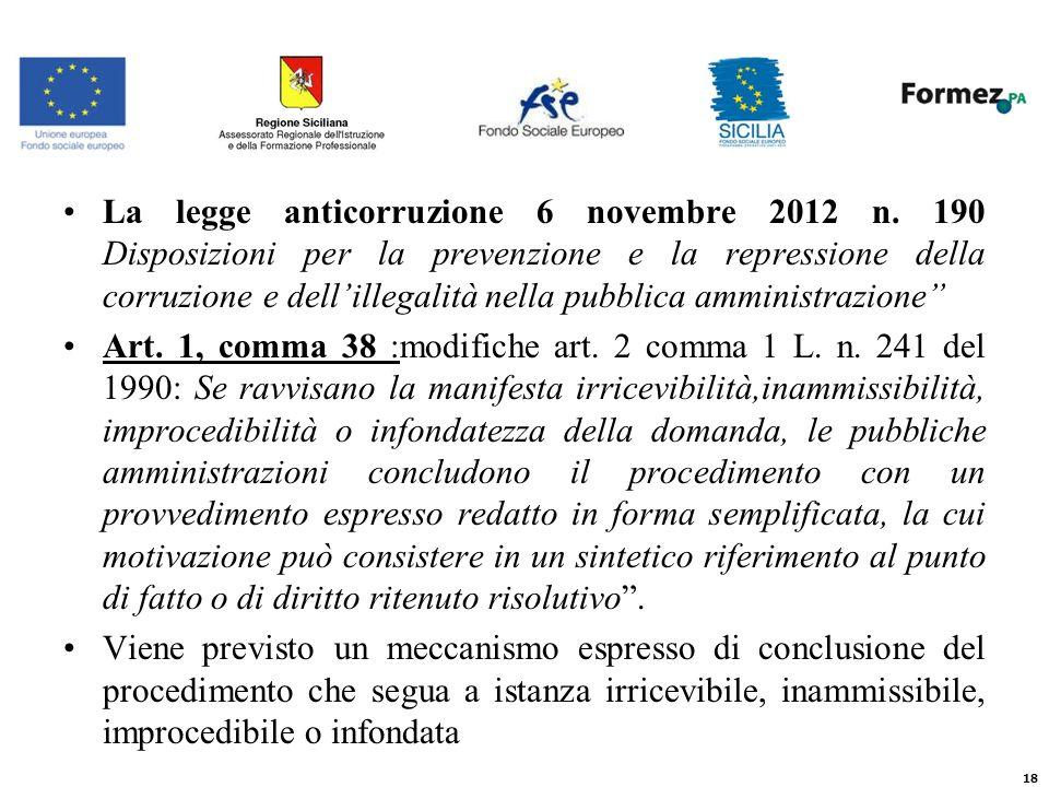 La legge anticorruzione 6 novembre 2012 n.