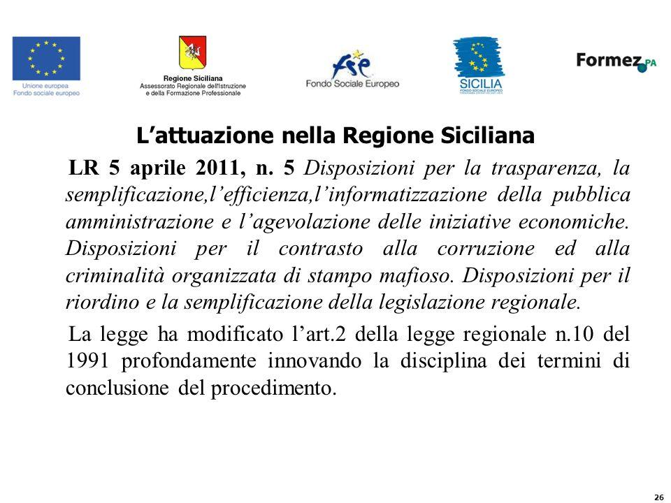 Lattuazione nella Regione Siciliana LR 5 aprile 2011, n.