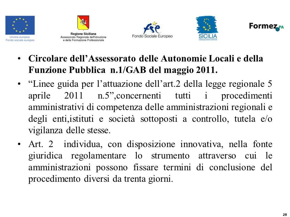 Circolare dellAssessorato delle Autonomie Locali e della Funzione Pubblica n.1/GAB del maggio 2011.