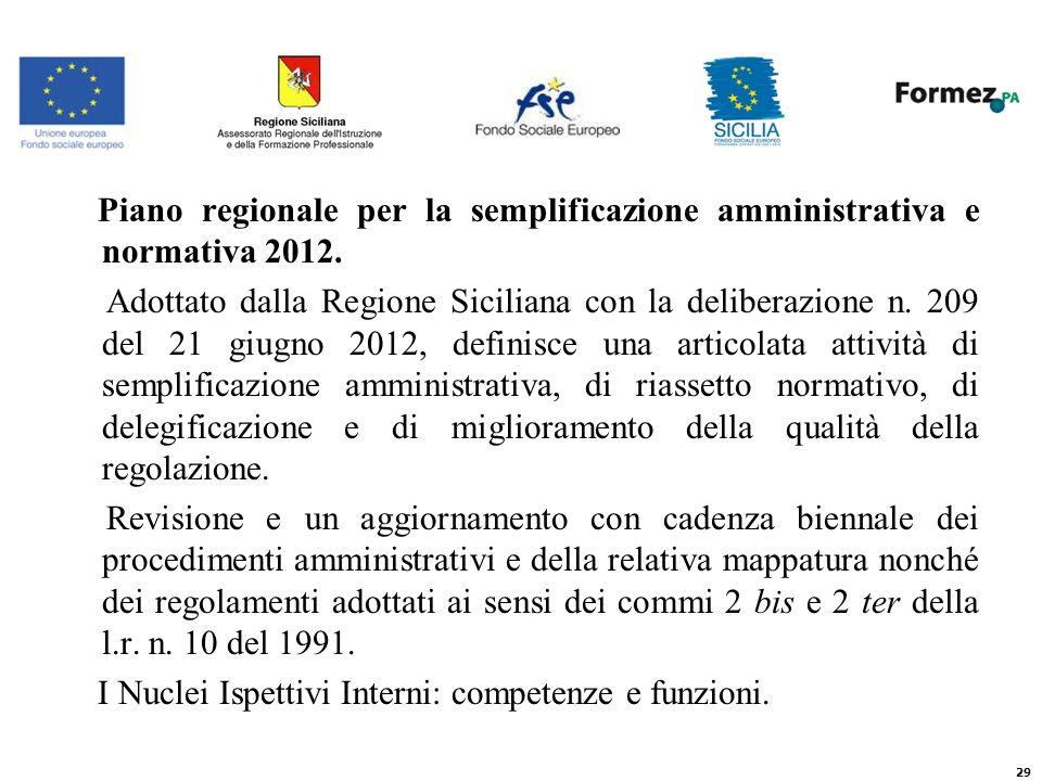 Piano regionale per la semplificazione amministrativa e normativa 2012.