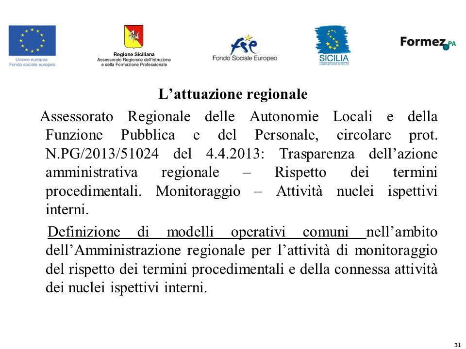 Lattuazione regionale Assessorato Regionale delle Autonomie Locali e della Funzione Pubblica e del Personale, circolare prot.