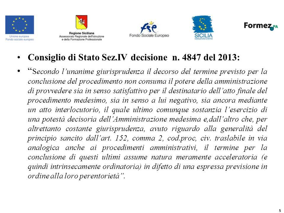 Consiglio di Stato Sez.IV decisione n.
