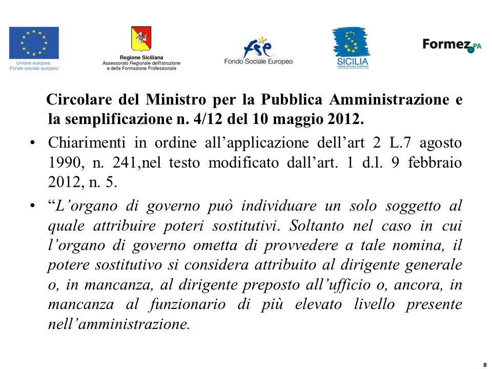 Circolare del Ministro per la Pubblica Amministrazione e la semplificazione n.