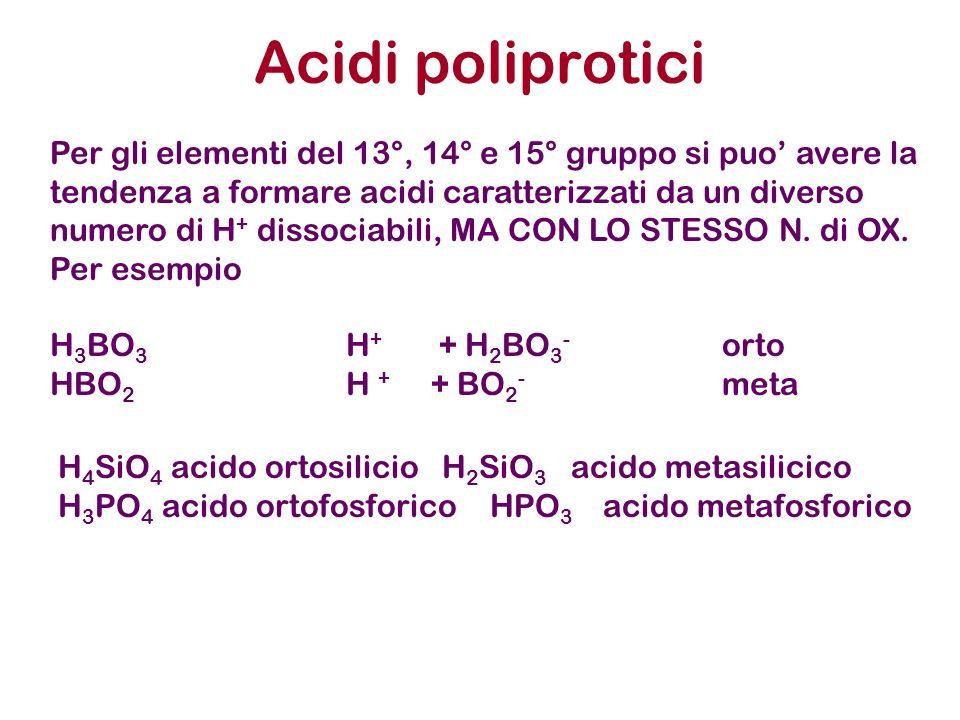 Acidi poliprotici H 4 SiO 4 acido ortosilicioH 2 SiO 3 acido metasilicico H 3 PO 4 acido ortofosforico HPO 3 acido metafosforico Per gli elementi del 13°, 14° e 15° gruppo si puo avere la tendenza a formare acidi caratterizzati da un diverso numero di H + dissociabili, MA CON LO STESSO N.