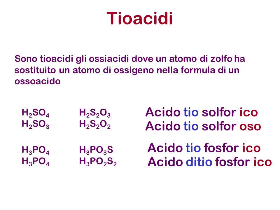 Tioacidi H 2 SO 4 H 2 S 2 O 3 H 2 SO 3 H 2 S 2 O 2 H 3 PO 4 H 3 PO 3 S H 3 PO 4 H 3 PO 2 S 2 Sono tioacidi gli ossiacidi dove un atomo di zolfo ha sostituito un atomo di ossigeno nella formula di un ossoacido Acido tio solfor ico Acido tio solfor oso Acido tio fosfor ico Acido ditio fosfor ico