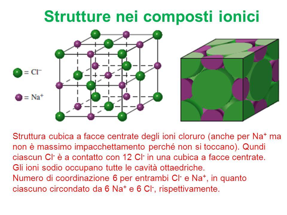 Strutture nei composti ionici Struttura cubica a facce centrate degli ioni cloruro (anche per Na + ma non è massimo impacchettamento perché non si toccano).