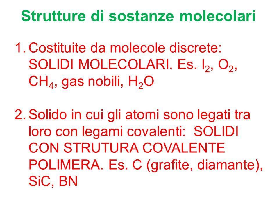 Strutture di sostanze molecolari 1.Costituite da molecole discrete: SOLIDI MOLECOLARI.