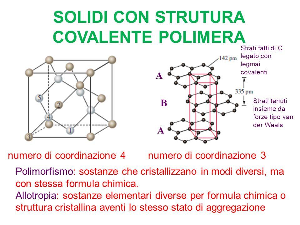 SOLIDI CON STRUTURA COVALENTE POLIMERA A B A numero di coordinazione 4numero di coordinazione 3 Polimorfismo: sostanze che cristallizzano in modi diversi, ma con stessa formula chimica.
