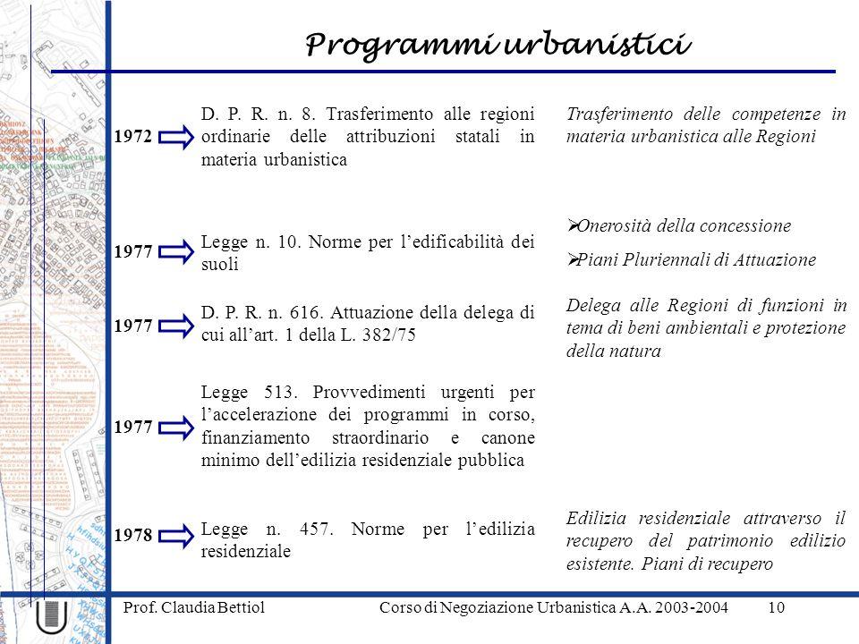 Programmi urbanistici Prof. Claudia Bettiol Corso di Negoziazione Urbanistica A.A. 2003-200410 1972 D. P. R. n. 8. Trasferimento alle regioni ordinari