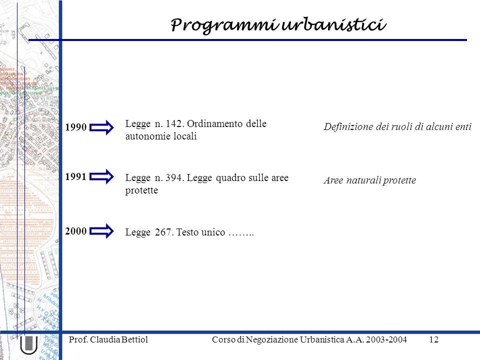 Programmi urbanistici Prof. Claudia Bettiol Corso di Negoziazione Urbanistica A.A. 2003-200412 1990 Legge n. 142. Ordinamento delle autonomie locali 2