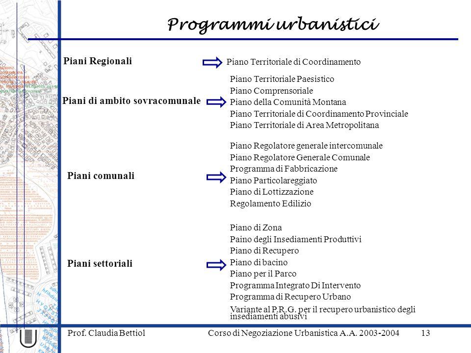 Programmi urbanistici Prof. Claudia Bettiol Corso di Negoziazione Urbanistica A.A. 2003-200413 Piani Regionali Piano Territoriale di Coordinamento Pia